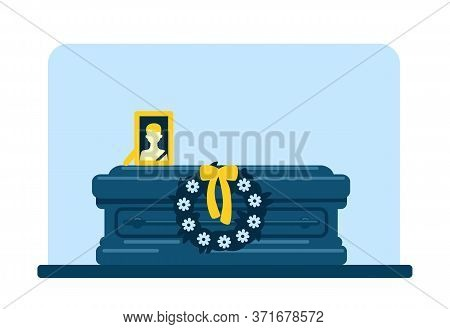 Dead Man Coffin And Photo Flat Color Vector Illustration. Funeral Tradition. Burial Ceremony. Ritual