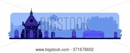 Night Cemetery Flat Color Vector Illustration. Tombstones And Old Crypt Building. Coffin And Graves.