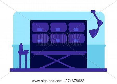 Hospital Morgue Flat Color Vector Illustration. Wheeled Bed And Refrigerators. Mortuary Room 2d Cart