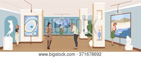 Tourist At Gallery Exposition Flat Color Vector Illustration. Contemporary Masterpiece Showcase. Peo
