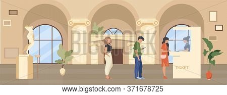 Queue To Museum Ticket Booth Flat Color Vector Illustration. People Wait Inside Hall To Buy Pass For