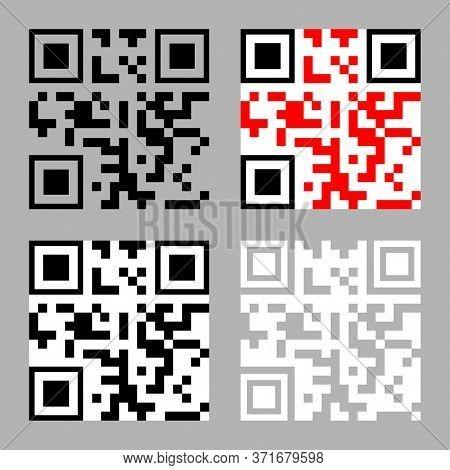 Qr Code Icon. Set Of Qr-code Symbols. The Concept Of Encode, Matrix, Ecommerce, Software, Access, Ma