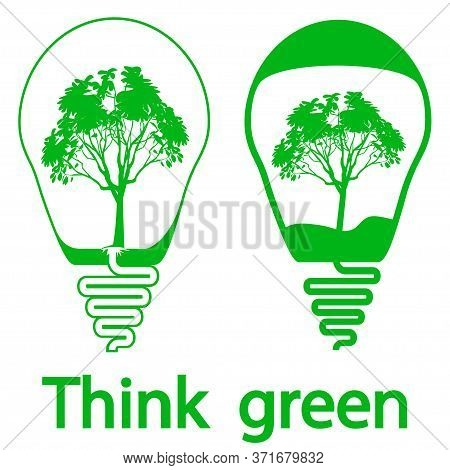 Bulb Icons. Eco Bulb Idea. Creative Flat Bulbs With The Tree Inside, Isolated On White Background. T