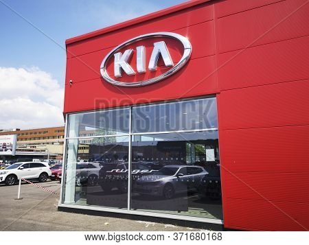 Cardiff, Uk: June 02, 2020: Kia Car Dealership With New And Used Cars For Sale. Kia Motors Corporati