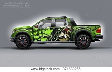 Editable Template For Wrap Suv With Evil Gorilla Decal. Hi-res Vector Graphics