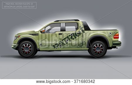 Editable Template For Wrap Suv With Patriot Theme Decal. Hi-res Vector Graphics