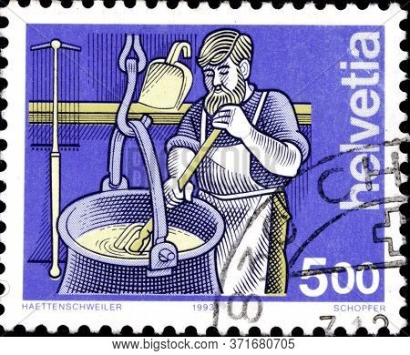 02 11 2020 Divnoe Stavropol Territory Russia Postage Stamp Switzerland 1993 Trades Occupations Chees