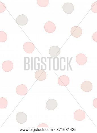 Seamless Geometric Vector Pattern With Pastel Pink And Gray Polka Dots On A White Background. Waterc
