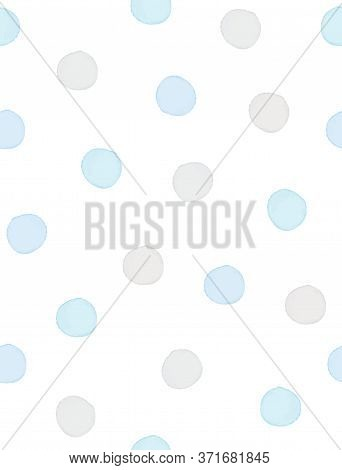 Seamless Geometric Vector Pattern With Pastel Blue And Gray Polka Dots On A White Background. Waterc