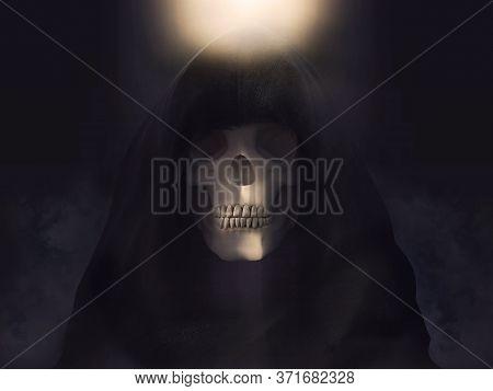 Portrait Of The Grim Reaper Or Death Skeleton Dressed In A Black Hood, 3d Rendering. Dark Background