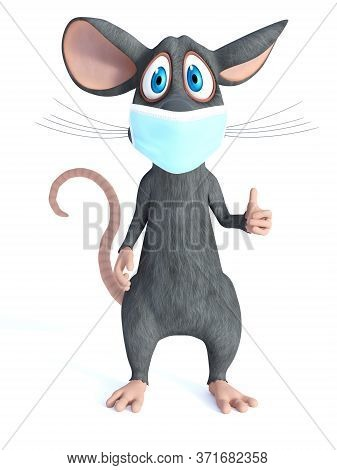 3d Rendering Of A Cute Cartoon Mouse Wearing A Face Mask And Doing A Thumbs Up. White Background.