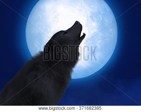 3d Rendering Of A Black Wolf Or Werewolf With Glowing Red Eyes Howling At The Big Moon. Stars In The
