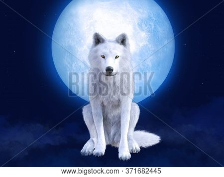3d Rendering Of A Majestic White Wolf Sitting In Front Of A Big Moon. Stars In The Night Sky, Blue F