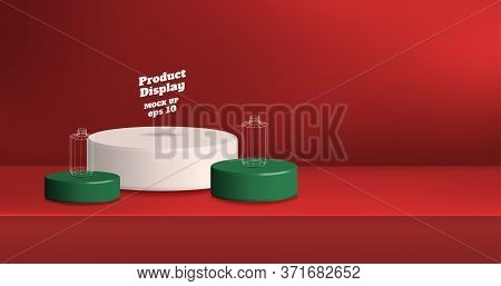 Vector,empty Vivid Red Gradient With White And Green Studio Round Kiosk Stand Background ,product Di