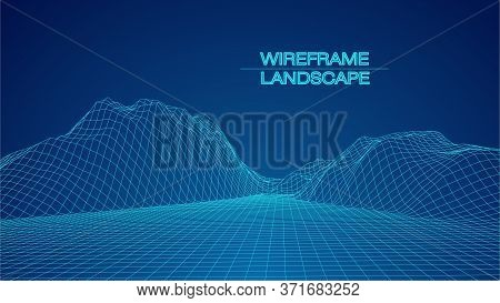 Abstract Digital Polygonal Wireframe Landscape. Blue Vector Mesh Illustration On Dark Background. Di