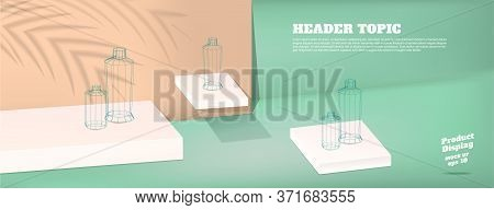 Summer Studio Table With Product Display Block Background.pastel Mint Green And Peach With Palm Leaf