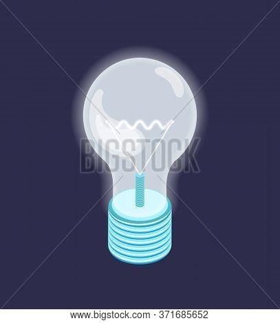 Fluorescent Lightbulb, Energy Saving Object, Symbol Of New Idea, Lighting Equipment Isolated On Dark