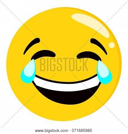 Yellow Crying And Laughing Emoji Isolated On White Background. Emoticon Or Emoticon Icon. Cute And F