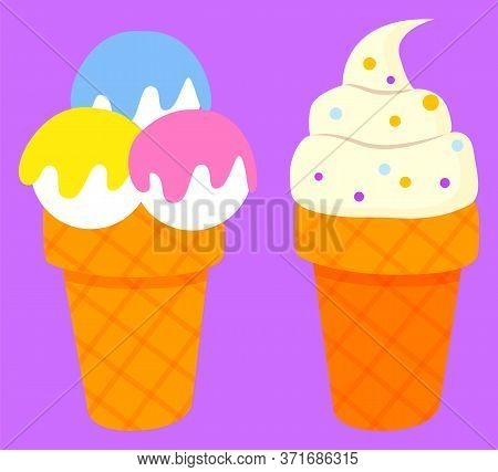 Ice-cream Parlor Logotype Of Restaurant, Colorful Balls Of Frozen Cream In Waffle Cone. Cold Dessert