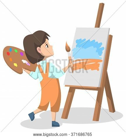 Art Club After Lessons For Pupils. Girl Standing With Colorful Paint Palette And Brush Or Tassel. Ki