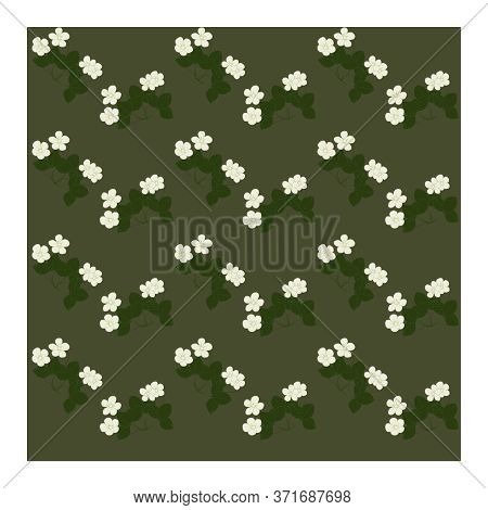 Seamless Pattern With White Strawberry Flowers And Green Leaves On The Branches And Bushes Of The Pl