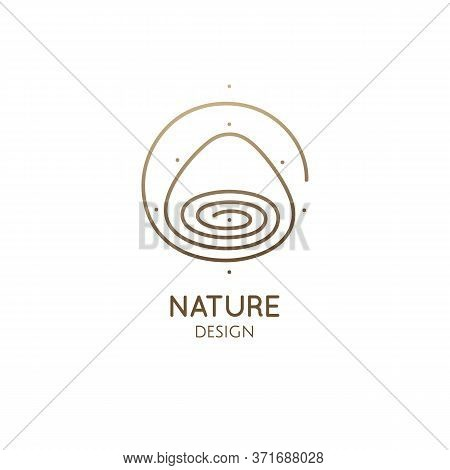 Mountain, Lake Minimal Logo. Vector Abstract Icon Of Landscape. Round Hand Drawn Emblem In Linear St