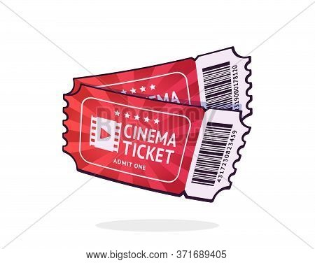 Two Cinema Tickets With Barcode. Pair Paper Retro Coupons For Movie Entry. Symbol Of The Film Indust
