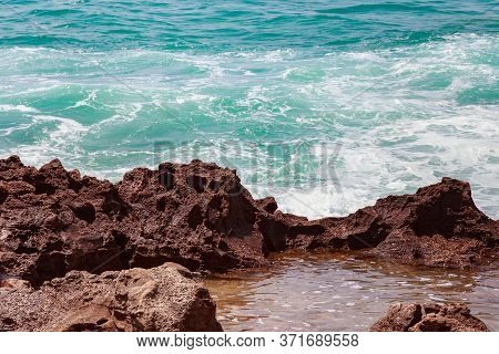 View Of The Atlantic Ocean Coast In Sunny Day.