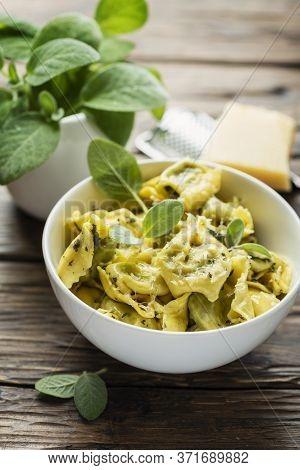 Traditional Italian Raviolli With Sage