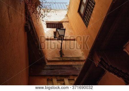 Old Streetlight In Medina Quarter Of Meknes, Morocco.