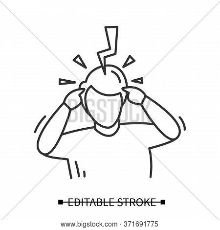 Headache Icon. Person Avatar With Big Thunderclap Strike. Concept Linear Pictogram Suffering Extreme