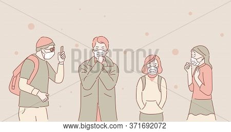 Unhappy People In Protective Face Masks Because Of Air Pollution Vector Cartoon Outline Illustration