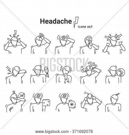 Headache Icons Set. Linear Vector Medical Pictogram Illustrations Of Head Pain, Heat Stroke, Concuss