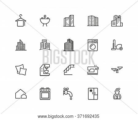 Houses And Tools Icons. Residential District, Coffee Machine, Fridge. Home Services Concept. Illustr