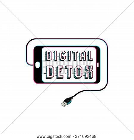 Digital Detox Poster. Smartphone Silhouette And Usb Connector In Isometric Style. Color Print On Whi
