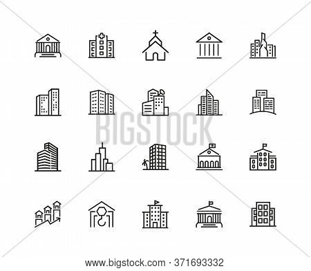 Building Icons. Set Of Twenty Line Icons. Church, Museum, Bank. Architecture Concept. Illustration C