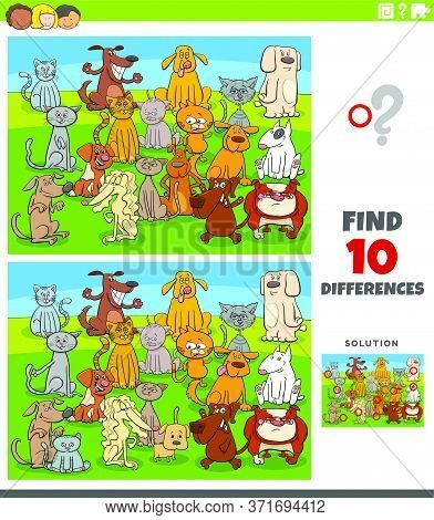 Cartoon Illustration Of Finding Differences Between Pictures Educational Task For Kids With Comic Ca