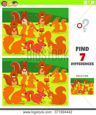 Cartoon Illustration Of Finding Differences Between Pictures Educational Game For Kids With Funny Sq