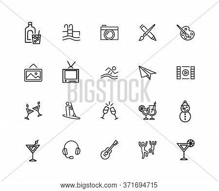 Entertainments Icons. Set Of Twenty Line Icons. Painting, Kayaking, Dancing. Leisure Concept. Illust