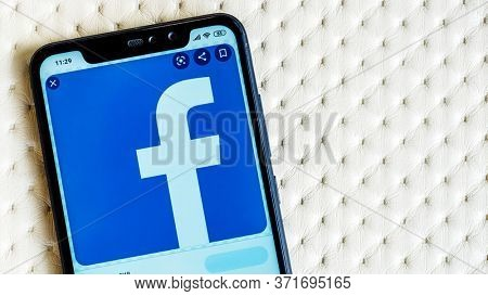 MOSCOW, RUSSIA - JUNE 15, 2020: Facebook logo on the smartphone screen. Illustrative Editorial Photo