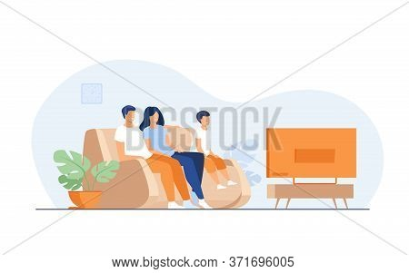 Happy Family Watching Tv Together Flat Vector Illustration. Cartoon Mother, Father And Kid Sitting O