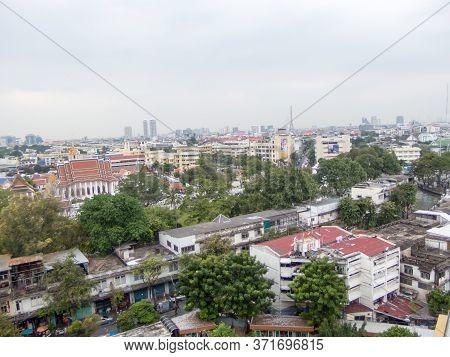 Bangkok Thailand-28 November 2018:landscape Of Bangkok In The Winter Of The Year.on Bangkok Thailand