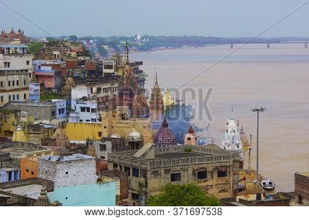 Sacred River Ganges On The Colorful Benares Coast India Religion Hinduism