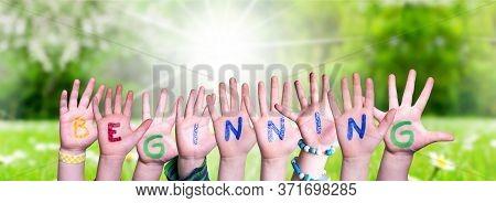 Children Hands Building Word Beginning, Grass Meadow