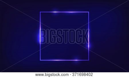 Neon Square Frame With Shining Effects On Dark Background. Empty Glowing Techno Backdrop. Vector Ill