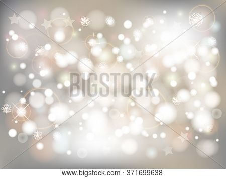 Silver Christmas Background With Bokeh Lights. Vector Abstract Bokeh Background. Festive Unfocused L