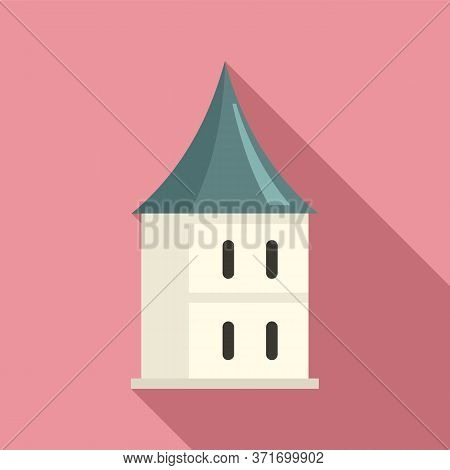 Castle Riga Tower Icon. Flat Illustration Of Castle Riga Tower Vector Icon For Web Design