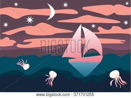 Seascape In A Flat Style. Sailboat, Jellyfish, Night Sky With Moon And Stars. Vector Illustration. D