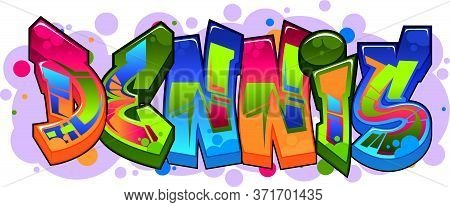 A Cool Name Illustration Inspired By Graffiti And Street Art Culture. Vivid Vibrant Colors, Immacula