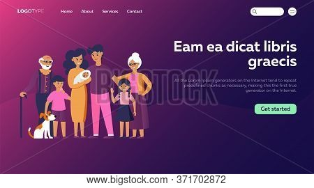Happy Huge Family Standing Together Flat Vector Illustration. Father, Mother, Grandmother, Grandfath